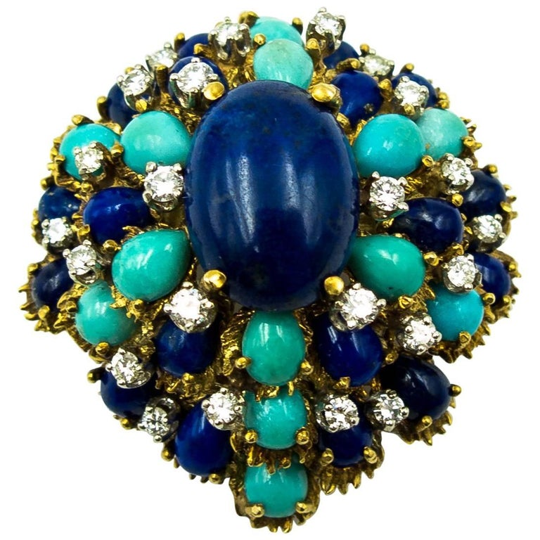 Turquoise Lapis Diamond Gold Cocktail Brooch For Sale