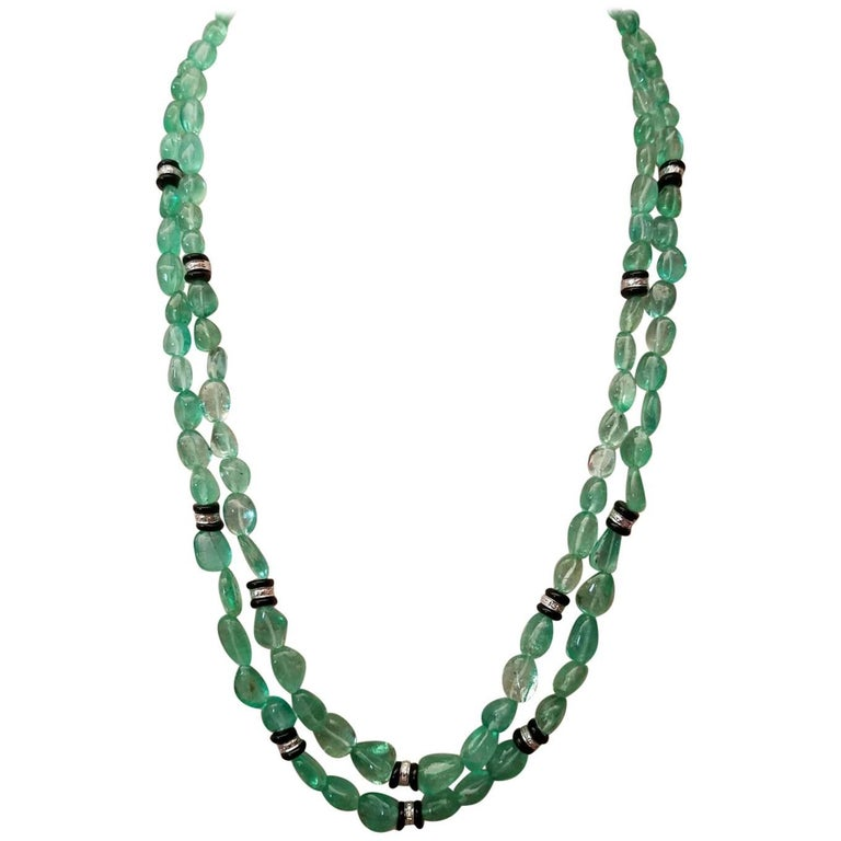 291 Carat Colombian Emerald and Onyx Beaded Necklace