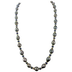 Pearl, Opal and Blue Sapphire Beaded Necklace
