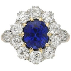 Natural Unenhanced Burmese Sapphire and Diamond Cluster Ring, circa 1910