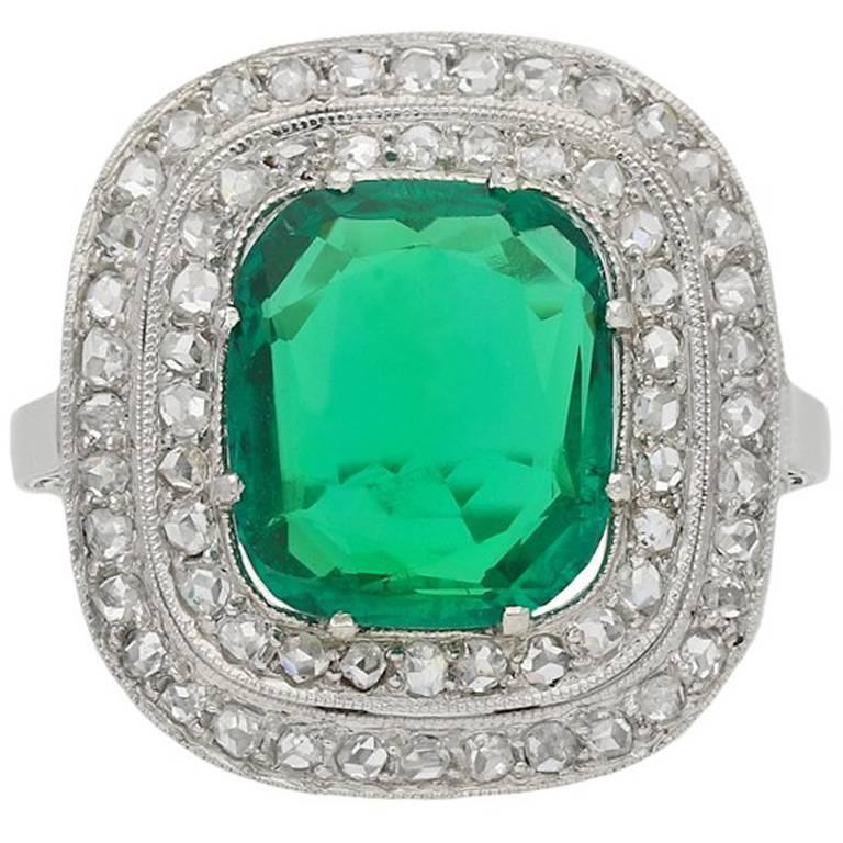 Natural Colombian Emerald and Diamond Coronet Cluster Ring, circa 1920