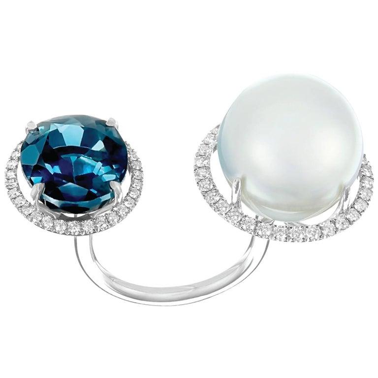 Nadine Aysoy 18K White Gold, Blue Topaz and South Sea Pearl Diamond Ring