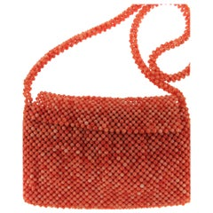 Natual Coral Bead Woven Purse Bag