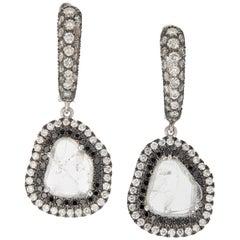18 karat Gold Slice Diamond and Black Diamond Drop Earrings