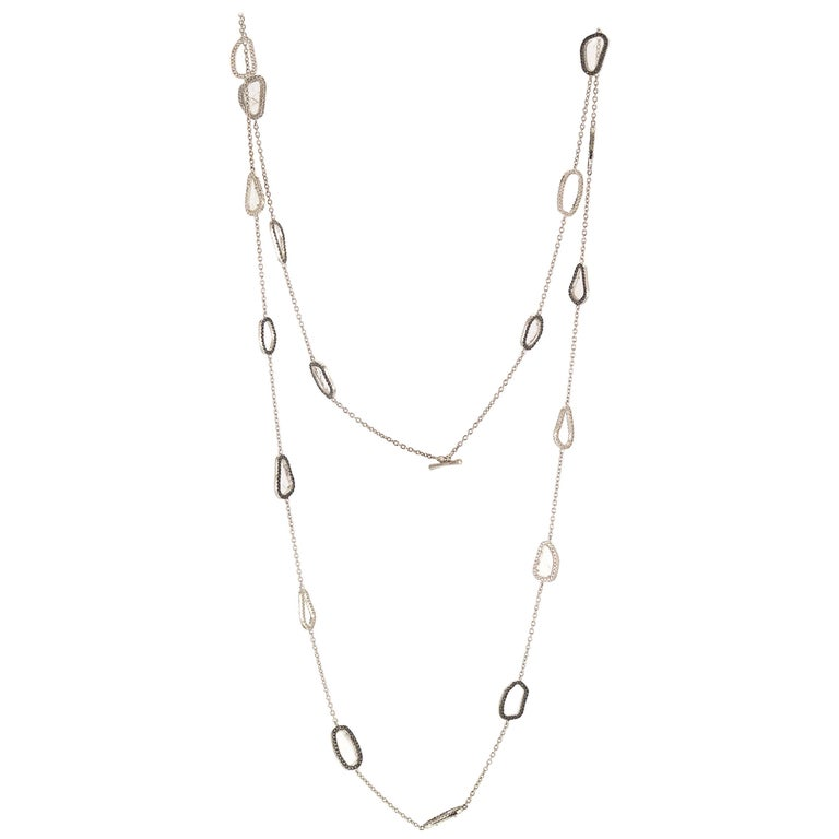 Manpriya B White Gold Bezel Black, White Slice Diamond Cable Chain Necklace