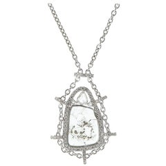 18 Karat White Gold Rose Cut and Slice Diamond Pendant Chain Necklace