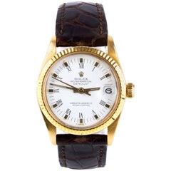 Rolex Oyster Datejust Gold White Dial Wristwatch, 31 mm Ref. 6827, circa 1985