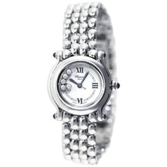 Chopard Stainless Steel Diamond Happy Sport Wristwatch