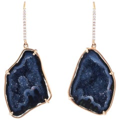 Karolin Rose Gold White Diamond Agate Geode Drop Earrings