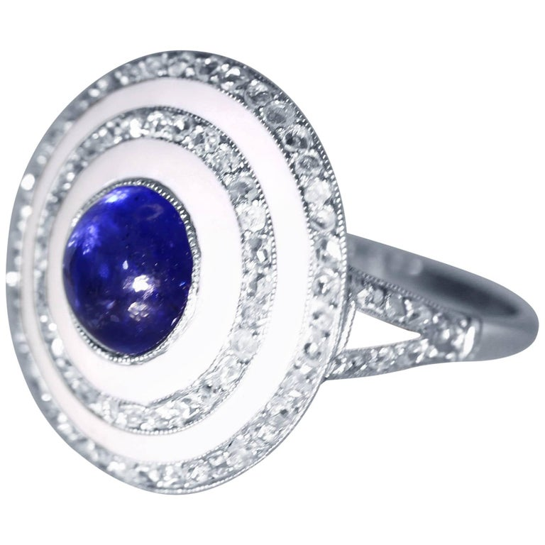 Edwardian Sapphire, White Enamel and Diamond Ring For Sale