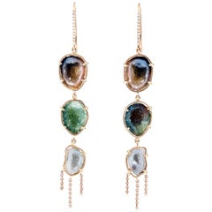 Karolin Rose Gold Agate Geode Drop earrings with White Diamonds