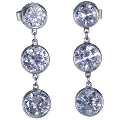 Handmade Diamond and Platinum Pendant Earrings