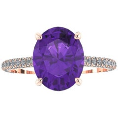 Ferrucci Natural Purple Oval Amethyst and White Diamonds 18 Karat Rose Gold Ring