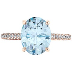 Ferrucci Natural Oval Blue Aquamarine and White Diamonds Pave' in 18 Karat Gold