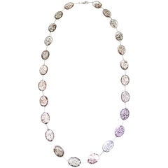 Sagenitic Quartz and White Gold Long Chain Necklace