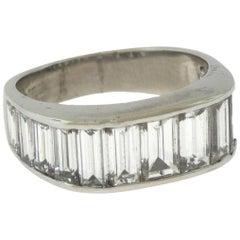 Baguette Diamond Half Eternity Platinum Band Ring, 2 Total Carats