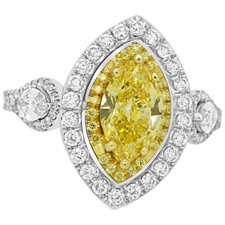 GIA Certified Fancy Intense Yellow Diamond Double Halo Two Color Gold Ring For Sale