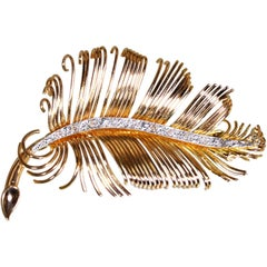 Diamond and Rose Gold Feather Brooch