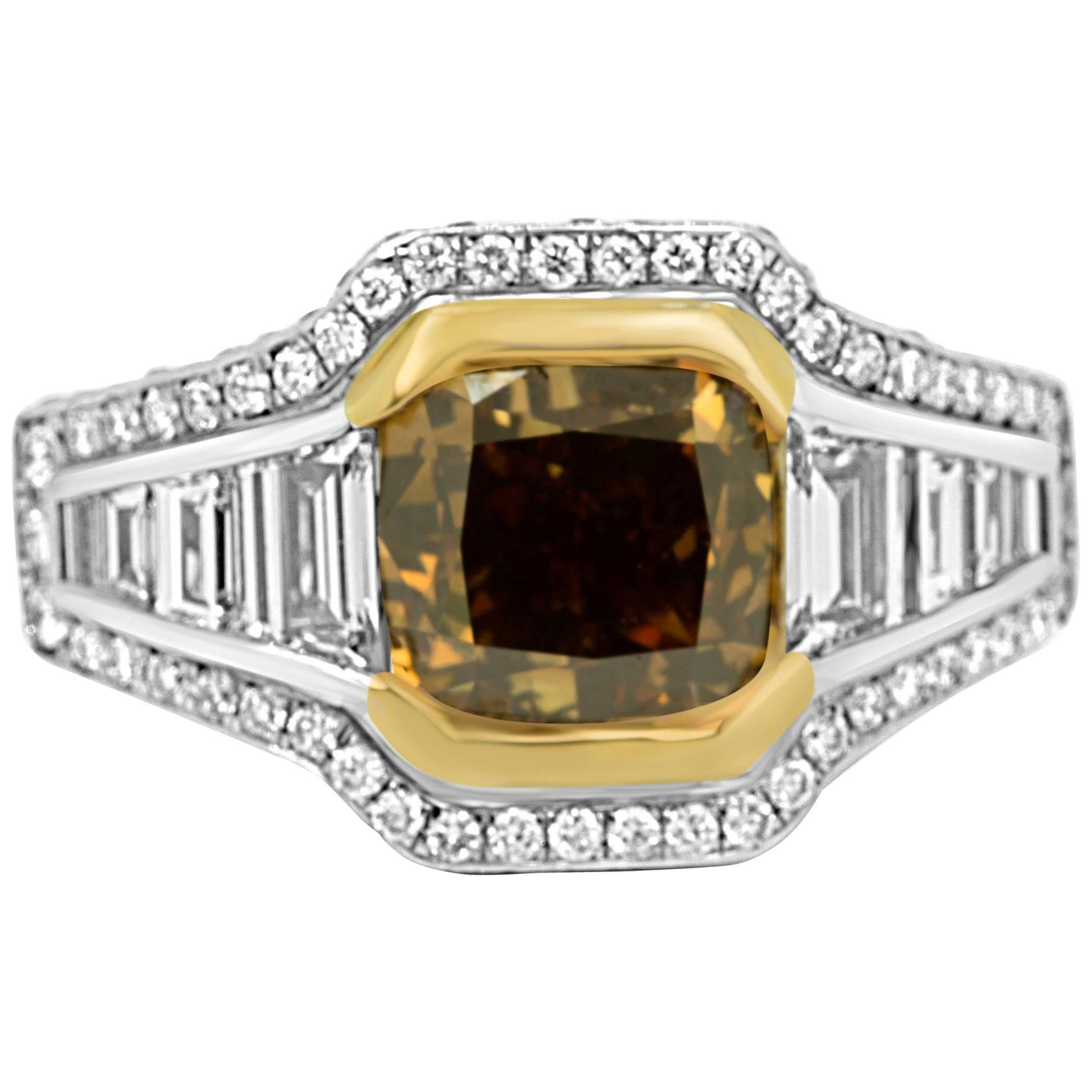 GIA Certified Fancy Orangish Brown Diamond Halo Two Color Gold Cocktail Ring