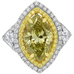 GIA Certified 4.03 Carat Chameleon Diamond Double Halo Three Stone Gold Ring