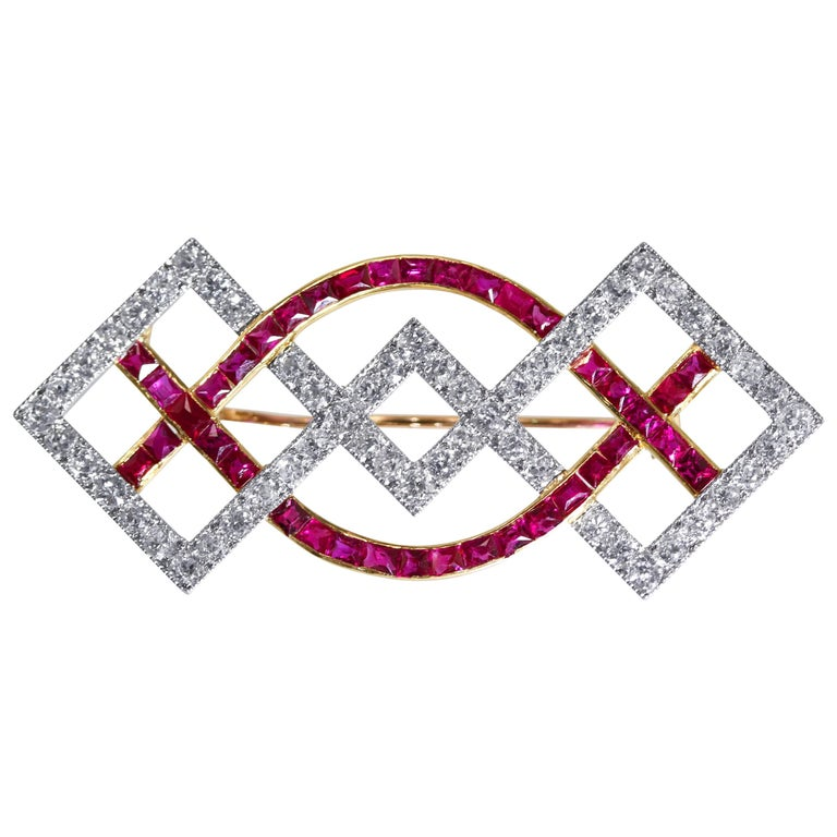Art Deco Cartier Ruby and Diamond Brooch