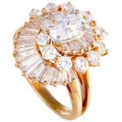 Oscary Heyman Diamond Swirl Yellow Gold Ring