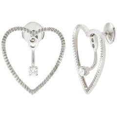 Yvonne Leon's Earring Heart with Diamonds in 18 Carat White Gold
