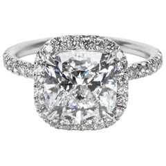 GIA Certified Cushion Cut Diamond Halo Engagement Ring in Platinum (4.04 CTW)
