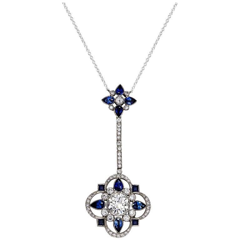 31ba0666561a2 Blue Sapphire and Diamond Platinum Pendant Necklace