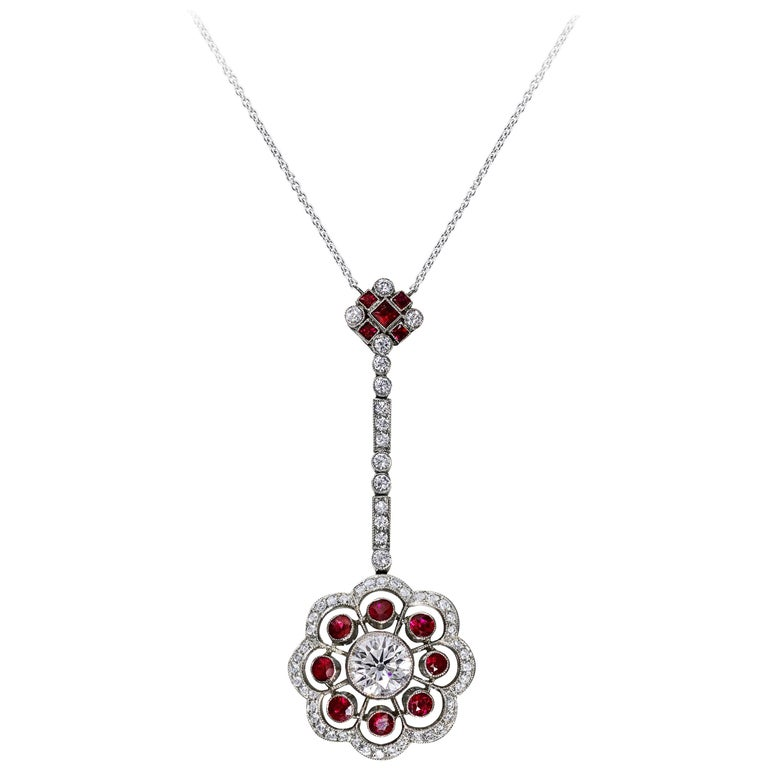 Ruby and Diamond Platinum Floral Motif Pendant Necklace