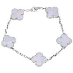 Van Cleef & Arpels Vintage Alhambra White Gold Mother of Pearl Bracelet