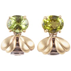 """Saint"" by"" Sarah Jane Peridot Yellow Gold Sterling Silver Bee Earrings"