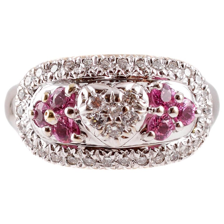 Diamond Pink Sapphire White Gold Ring