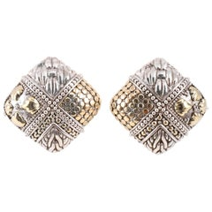 """John Hardy"" Square Textured Clip On Earrings"