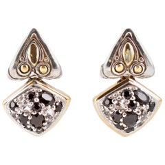 """John Hardy"" Yellow Gold Sterling Silver Black White Sapphire Earrings"