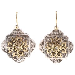 """Konstantino"" Diamond Accent Earrings in Yellow Gold and Sterling Silver"