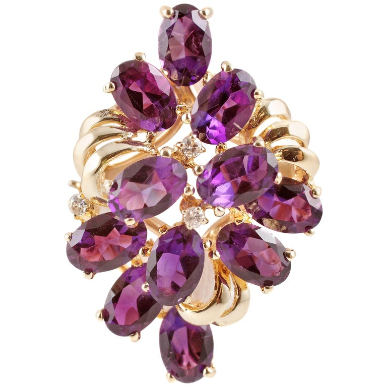 Amethyst Yellow Gold Accent Diamond Ring