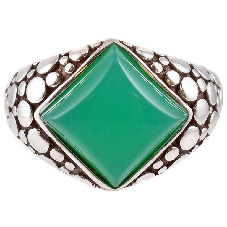 """John Hardy"" Green Chrysoprase ""Dot"" Sterling Silver Ring"