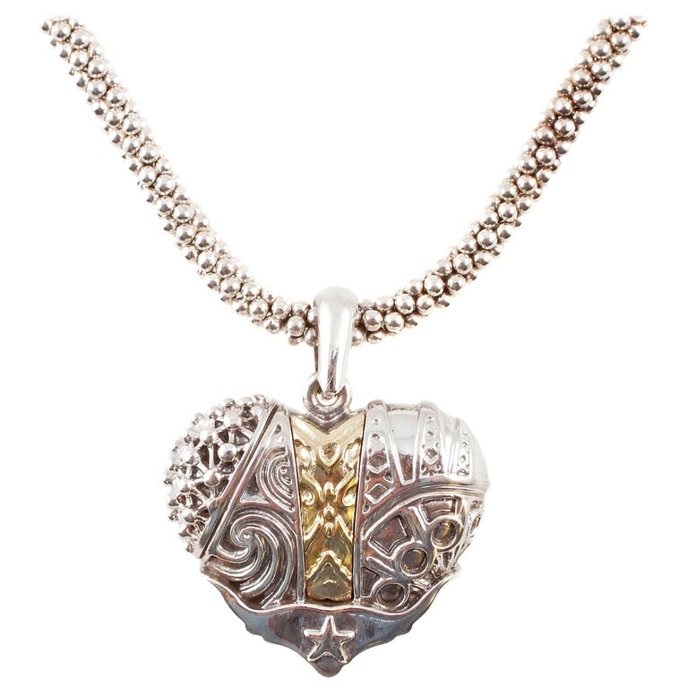 """""""Lagos"""" Heart of Texas Yellow Gold Sterling Silver Necklace"""