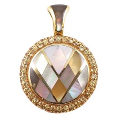 """Asch Grossbardt"" Yellow Sapphire Mother-of-Pearl Pendant"