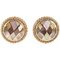 """""""Asch Grossbardt"""" Yellow Gold Mother of Pearl & Yellow Sapphire Earrings"""