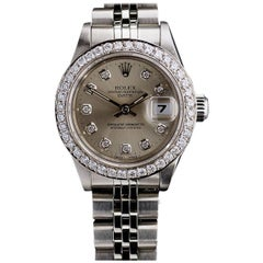 Rolex Stainless Steel Datejust Custom Diamond Dial and Bezel wristwatch