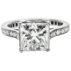GIA Certified 2.04 Carat Princess-Cut Diamond Pave Platinum Ring