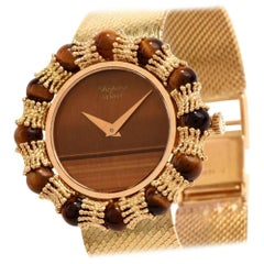 Chopard Ladies Yellow Gold Tiger Eye Dial mechanical Wristwatch, 1970s