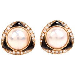 1980's Mabe Pearl Diamond Onyx Clip-Back Earrings Signed 'Elan' Hamid