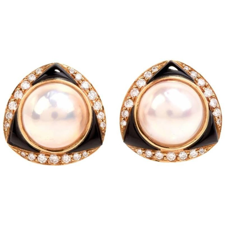 1980's Mabe Pearl Diamond Onyx Clip-Back Earrings Signed 'Elan' Hamid