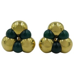 Marina B. Chrysoprase and Gold Bead Earrings