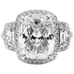 GIA Certified 5.00 Cushion Cut Diamond E VS1 Pave Three Stone Platinum Ring