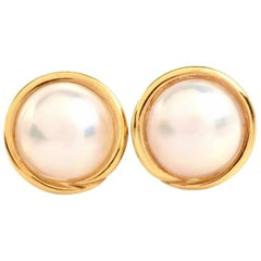 Lustrous 13mm Pearl 18-karat Yellow Gold Clip-on stud Earrings