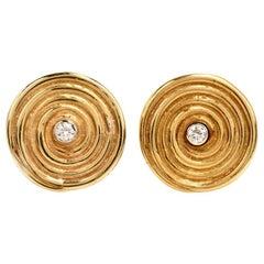 Diamond Yellow Gold Disk Motif Clip-Back Stud Earrings